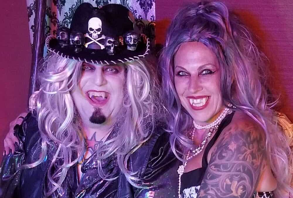 Deadgar Winter is the Rockin Horror Host with His Wife Storm Winter of Deadgar's Dark Coffin Classics