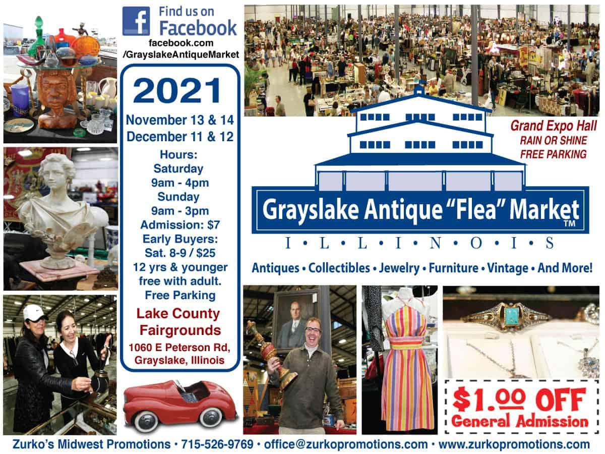 Grayslake Illinois Antique Flea Market flyer